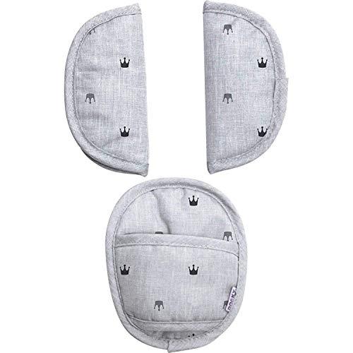 Dooky Universal Pads Light Grey Crowns Protectores de cinturón de seguridad para portabebés y silla de coche (para arneses de 3 y 5 puntos, grupo de edad 0+, para la mayoría de las marcas), gris