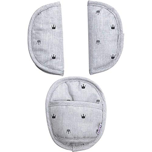 Original Dooky Universal Pads Crowns Gurtschoner & Gurtpolster geeignet für Altersgruppe 0+ und 3 & 5 Punkt Gurte für Babyschale, Kinderwagen, Buggy & Autositz, hell grau