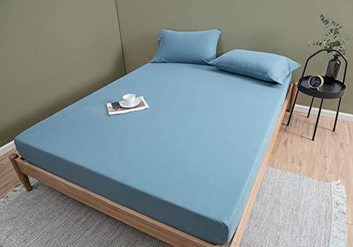 LCFCYY FundadecolchónSábanas,Sábanas de algodón de Color sólido Suave,Antideslizantes para dormitorios de Adultos,Protector de colchón Desnudo para Dormir Navy Blue 150 * 200cm