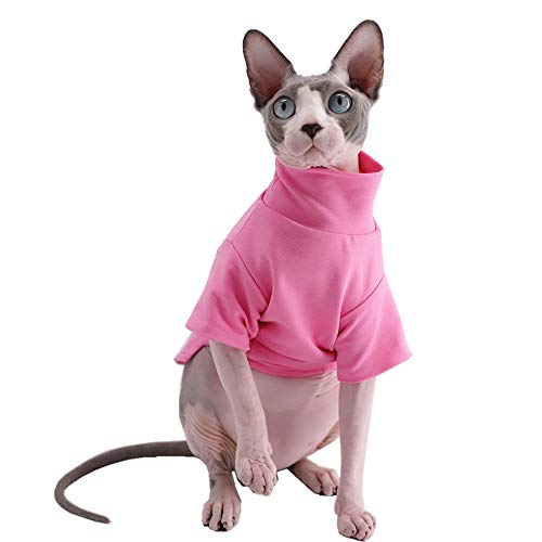 Sphynx Cat Clothes Winter Thick Cotton T-Shirts Double-Layer Pet Clothes, Pullover Kitten Shirts with Sleeves, Hairless Cat Pajamas Apparel for Cats & Small Dogs (M+ (7.2-8.7 lbs), Pink)