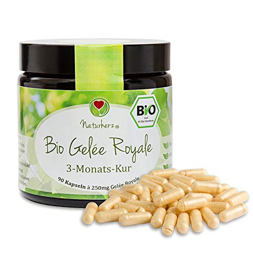 Bio Gelée Royal Kapseln von Naturherz   100% Gelée Royal Pulver   OHNE Zusätze   90 Vegi-Caps im praktischen Braungläschen