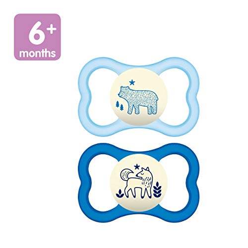 MAM Air Night Pacifiers 2 pack 1 Sterilizing Pacifier Case MAM Sensitive Skin Pacifier 6 Months Glow in the Dark Pacifier Best Pacifier for Breastfed Babies Baby Boy Pacifiers