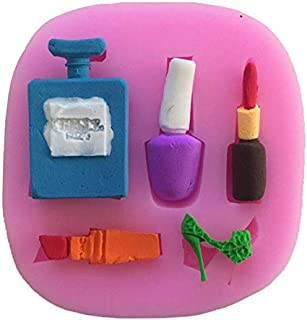 Make-up, Dress Up, Nail polish, Lipstick and High Heels, Perfume, Decorating Silicone Mold - Custom Mold Cupcake Fondant DIY Mold