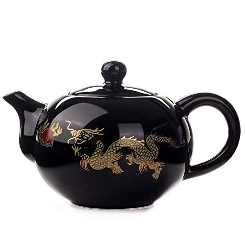 AFGH Tetera Tetera roja de 177 ml Tetera de dragón Chino Juego de té de cerámica Tetera de Kung fu