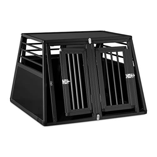 Relaxdays Hundebox Auto, doppelte Hundetransportbox Kofferraum, abgeschrägt, Trennwand, HBT 68 x 97,5 x 92,5 cm, schwarz