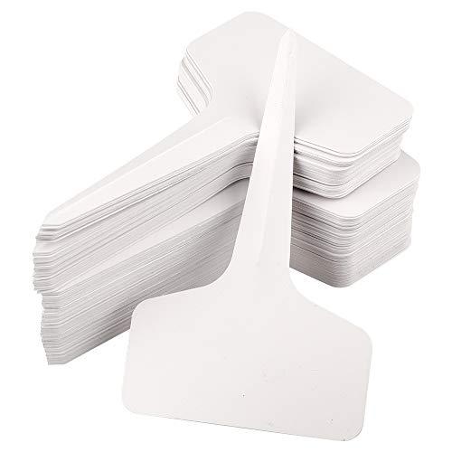 KINGLAKE 100 Pezzi marcatori di Piante in plastica Bianche, 10 x 6 cm T-Tipo Etichette per Piante Impermeabili, Etichette per Semi da Giardino