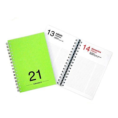 Agenda 2021 giornaliera annuale 365 giorni 15x21 cm A5 con spirale per ufficio - VERDE CHIARO Calendari