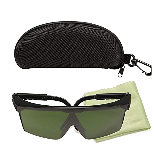opamoo Gafas de Seguridad Premium, Gafa para Laser Verde, Gafas Protectoras Contra Láser con lentes Verdes Resistentes a los Arañazos y Agarre Antideslizante,Protección UV de Ajustable para Industrial