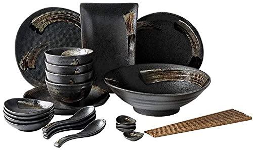 LLSS Juego de vajilla, Juegos de Cuencos, Juego de vajilla de cerámica Retro Cuenco de Sopa/Cuenco de arroz/Plato/Cuchara/Palillos