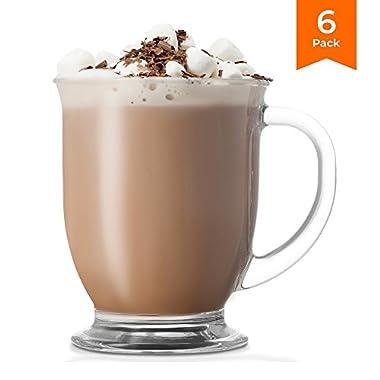 KooK Café Coffee Or Tea Glass Hot Mugs Set 15oz (Set of 6)