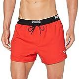 PUMA Logo Men's Short Length Swimming Shorts Pantalones Cortos, Rojo, L para Hombre