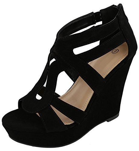 Cambridge Select Women's Open Toe Caged Cutout Chunky Platform Wedge Sandal,8 B(M) US,Black NBPU