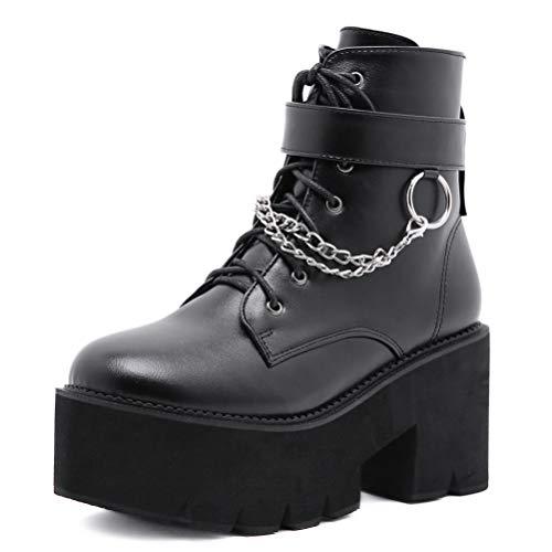 Steampunk Botas Mujer Sexy Elegante Cadena gótico Tobillo Botines Plataforma Chunky Zapatos de tacón...