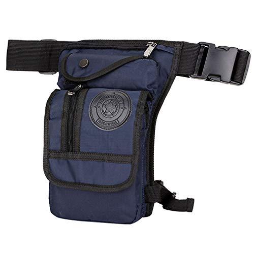 Hombres Nylon gota pierna bolsa táctica militar moto equitación cintura Fanny Pack bolsa, azul marino