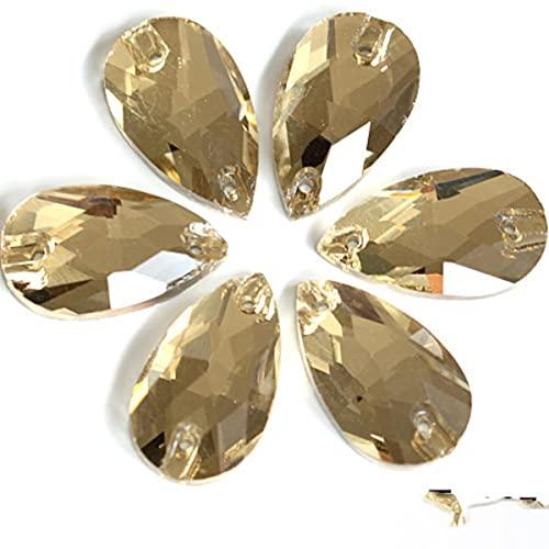 6 tamaños colorido lágrima cristal coser en diamantes de imitación con agujeros Flatback rojo costura Rhinestones para vestido de novia B0153