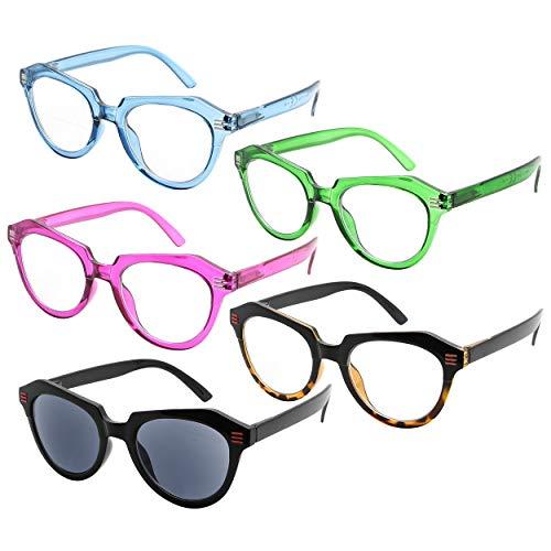 Eyekeeper Oversize Reading Glasses Women 5-Pack Ladies Readers Cat-Eye...