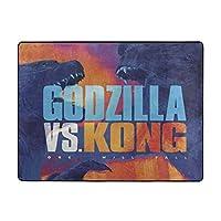 Godzilla vs Kong ゴジラ vs コン ラグ カーペット ラグマット 滑り止め付 床暖房 チェアマット デスクマット マット 床 フローリング 防音 傷防止 マット 63x48in 120x160cm