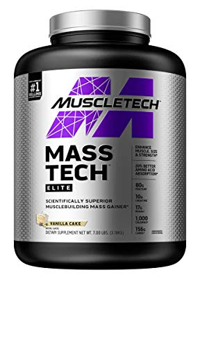 MuscleTech Mass-Tech Elite Whey Protein Powder | Max-Protein Mass Gainer + Creatine Monohydrate for Muscle Size & Strength | 80g of Protein, 10g of Creatine | Vanilla, 7 Pounds (packaging may vary)