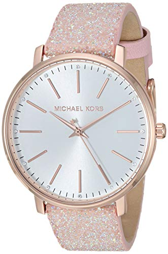 Michael Kors Women's Pyper Stainless Steel Quartz Watch with Leather Strap, Pink, 18 (Model: MK2884)
