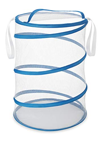 Whitmor 18 Inch Collapsible Hamper White with Blue Trim