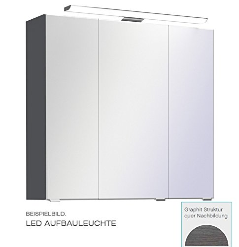 PELIPAL Trentino 770/800 Spiegelschrank/Graphit/LED-Aufbauleuchte / 75 x 70 x 20 cm/EEK: A++