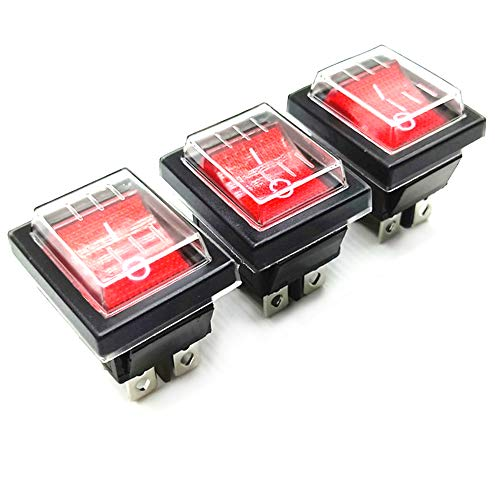 Her Kindness 3Pcs x Interruptor Basculante 4 Pin luz Roja On/Off DPDT 16A 250V /20A125V AC con Funda Impermeable