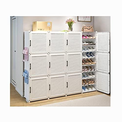 QIFFIY Organizador de almacenamiento de zapatos portátil, torre de ahorro de espacio, estante modular para zapatos, botas y zapatillas