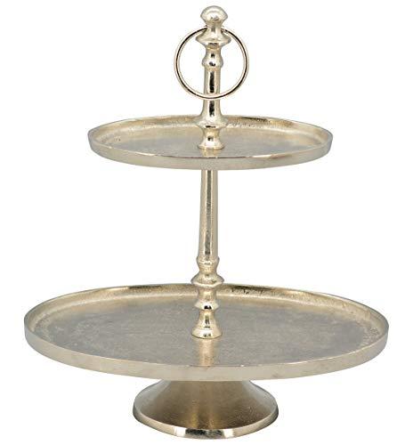 Exner dekorative ovale Deko-Etagere Tisch-Etagere Küchen-Etagere 2-stufig Metall Vintage Landhaus Stil