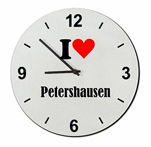 Druckerlebnis24 Glasuhr I Love Petershausen eine tolle Geschenkidee die von Herzen kommt| Wanduhr| Geschenktipp: Weihnachten Jahrestag Geburtstag Lieblingsmensch