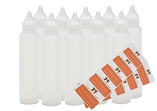 10 x 50 ml Bouteilles Stylet et Unicorn Bottle - Bouteilles en plastique souple en PE (Blanc/transparent) et 10 étiquettes - Flacon compte-goutte, bouteilles de dosage, Dropper bouteilles