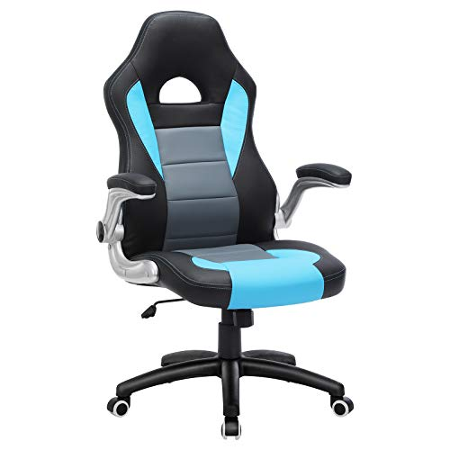 SONGMICS Gamingstuhl, Racing Chair, Schreibtischstuhl mit hoher Rückenlehne, Bürostuhl, höhenverstellbar, hochklappbare Armlehnen, Wippfunktion, für Gamer, schwarz-grau-blau, OBG28BU