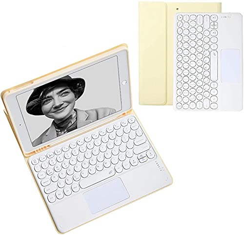 IPad 9.7 Inch Touchpad Keyboard Case - Touchpad Round Hat Keyboard Bluetooth Slim Folio Smart Leather Cover for 2017/2018 IPad 9.7,Yellow