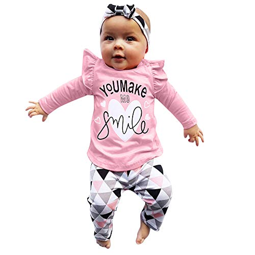LEXUPE Neugeborenen Kleinkind Baby Mädchen Brief drucken Tops geometrische Hosen Outfits Set(Rosa,100)