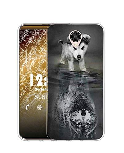 Sunrive Kompatibel mit Meizu M3 Max Hülle Silikon, Transparent Handyhülle Schutzhülle Etui Hülle (TPU Wolf und H&)+Gratis Universal Eingabestift MEHRWEG