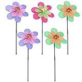 Cabilock 5 Stück Windrad Blume Garten Windspiel Windmühle Landschaft Dekoration Ornament für Zuhause Balkon Hof Lawn Gartendeko Geburtstag Ostern Party Favor Zufällige Farbe