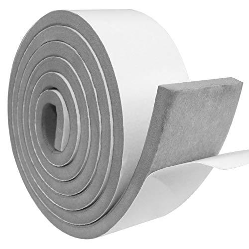 Cinta de sellado autoadhesiva, espuma de sellado gris, 50 mm(W)x 10mm(T), Cinta de espuma de Puerta de ventana, resistente a la intemperie, anticolisión, insonorización, longitud total 2 m