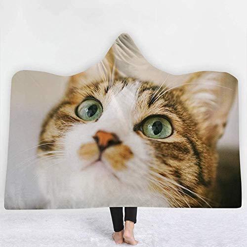 JSDKLO Manta con Capucha Manta de Sombrero de impresión Digital 3D Manta de Lona de Terciopelo de algodón Resistente al Desgaste súper Suave y Gruesa, B, 150 * 200 cm