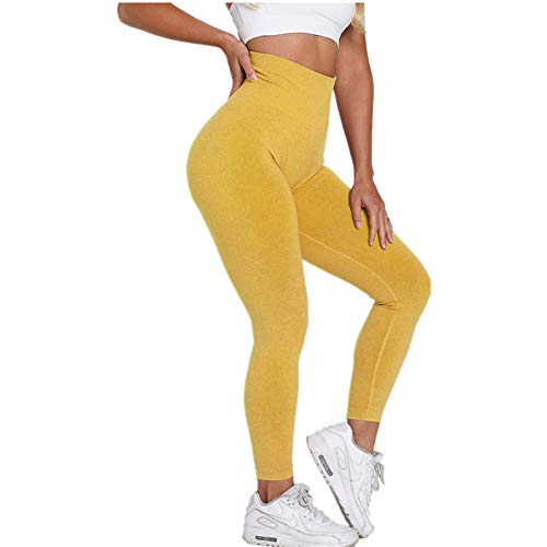 A/N Seamless Knitted Hip Buttocks Moisture Wicking Yoga Pants Sports Fitness Pants Sexy Hip Female Leggings Bright Yellow