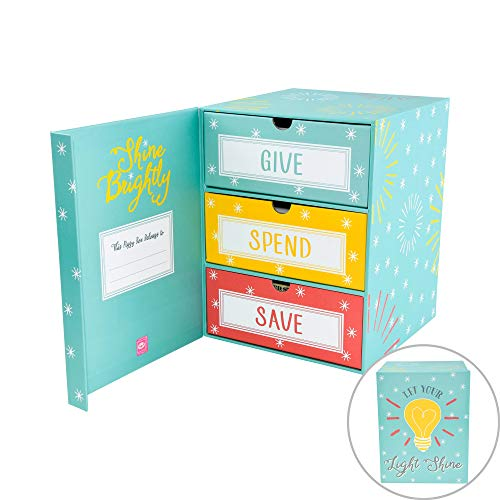 The Piggy Box Save Spend Give Piggy Bank | Teach Children About Saving Money & Giving | Three Drawers for Bills and Coins | Great for Birthday/Holiday Gifts & Room Decor
