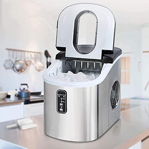 Máquina de hielo completamente automática Máquina de cubitos de hielo, acero inoxidable con canasta de cuchara, 9 cubitos de hielo listos en 6-13 minutos, función de limpieza automática No requiere