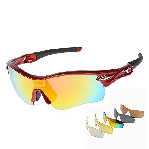 ROCKBROS Ciclismo Gafas de Sol polarizadas Gafas de Sol Ultralite Gafas con 5Lentes Intercambiables protección UV Deportes Gafas, Rojo y Negro