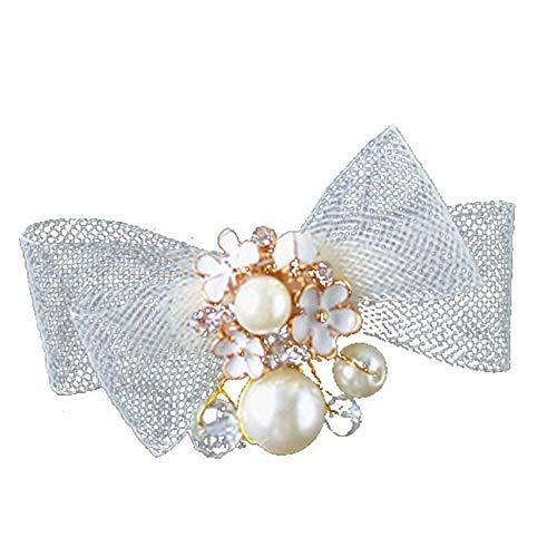tianxiangjjeu Clip de pelo para mujer con perlas de imitación de malla bowknot flor horquilla de boda accesorio de pelo de novia dorado