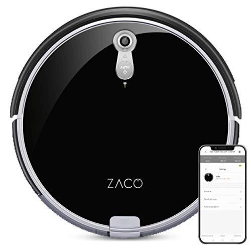 *ZACO A8s Saugroboter mit Wischfunktion, App & Alexa Steuerung, 7,2cm flach, automatischer Staubsauger Roboter, 2in1 Wischen oder Staubsaugen, für Hartböden, Fallschutz, mit Ladestation*