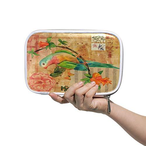 Potlood Case Leer Cosmetische Tas Muziek Letter Vogel Bloem Art Patroon Organizer Grote Capaciteit voor Reizen School