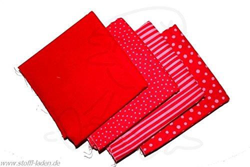Westfalenstoffe * Junge Linie * Stoff Paket Rot * 4 Fat Quarter * Kinderstoffe