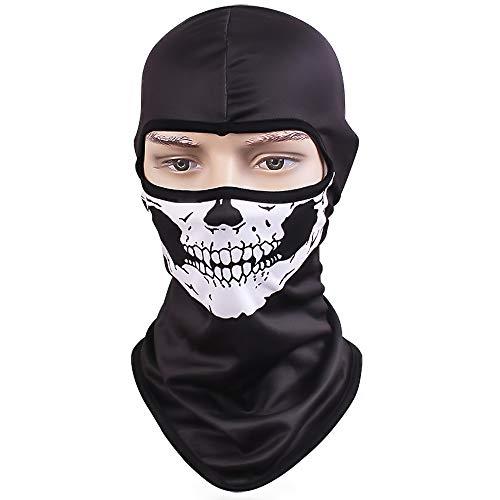 TClian Skull Mask Balaclava Ghost Skeleton Bandana Motorcycle Cycling Balaclava Full Face Masks UV Protective Quick Dry Breathable Military Tactical Airsoft Paintball Masks Halloween Mask(Skull-01)