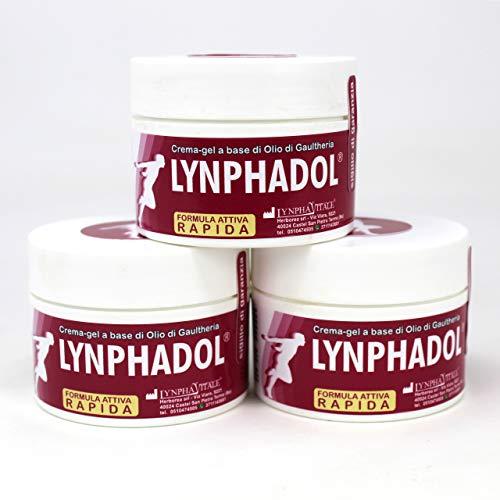 Lynphadol crème - Remède 100% naturel pour le mal de dos, les douleurs articulaires, les inflammation - 50 ml - Huile essentielle de Menthe, Gaulthérie, Eucalyptus - 3 flacons