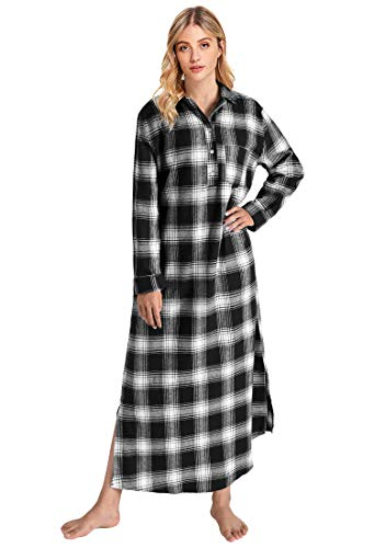Latuza Women's Plaid Flannel Nightgowns Full Length Sleep Shirts XL Black