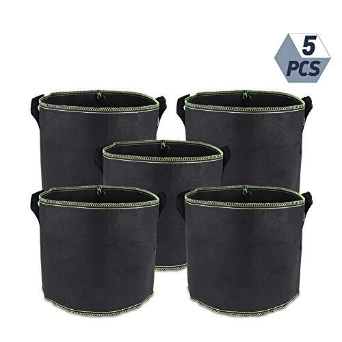 miuse - 5 Bolsas para Plantas de Tomates, Saco para Plantas con Asas de Tela de Fieltro, para Tomates, Flores, Plantas y más, Color Negro – 3 galones (12 L)