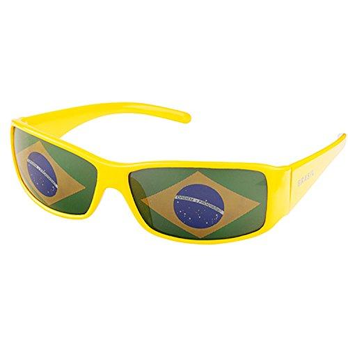 Taffstyle Gafas de sol con la bandera de Brasil y la bandera de la Copa del Mundo
